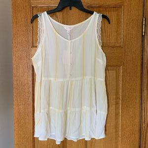 NWT LC Lauren Conrad Yellow and White Tank Top